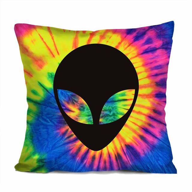 5d36aa673061a US $14.99 |Hot Tie Dye Alien Cushion Cover Novelty Trippy Rave Alien Head  Throw Pillow Case Fashion Alien Cushions Cases Pillows Sham Decor-in  Cushion ...