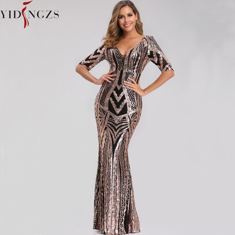 YIDINGZS V Neck Sequins Prom Dresses Half Sleeve Black Gold Formal Evening Party Dress 2019 YD663