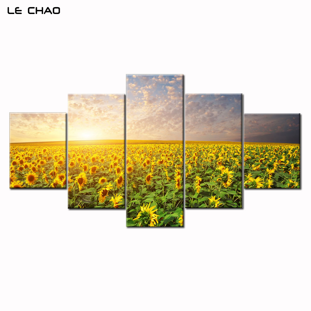 Wall Art Flowers Home Decoraion Sunflowers Canvas Painting for Living Room Posters and Prints Modular Painting Drop Shipping