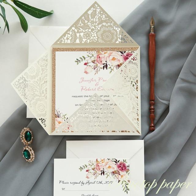 3c73dfa07074 2019 wholesale elegant latest handmade flower branch wedding invitation  card designs