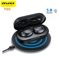 Latest Awei T6C Wireless Mini Stereo Earphone Bluetooth Binaural Earbuds Bluetooth 5.0 HiFi Music Headphone Support Hands Free
