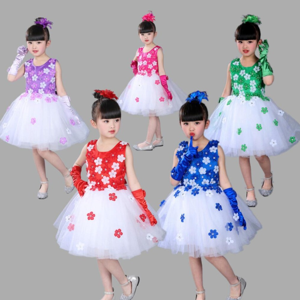 Ballet Lovely Kids Girl Dress Gown Dance Performance Clothes Childrens Day Stage Show Clothing Halloween Unicorn Child Costume