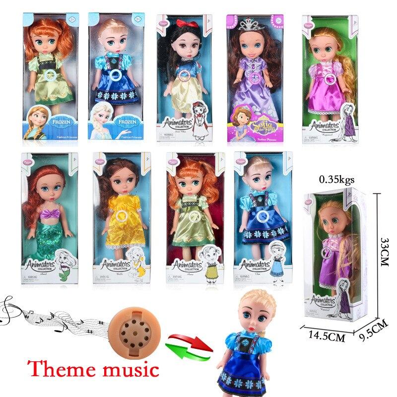 Disney Silicone Dolls 33CM Salon Doll Music Aisha White Snow Long Hair Mermaid Sophia Ice Princess toys for girls disney princess brass key 2003 holiday collection porcelain doll snow white