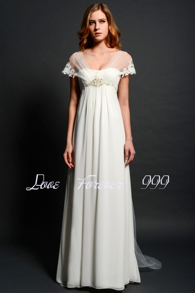 chiffon wedding dress with short sleeves short sleeve wedding dresses Chiffon Wedding Dress With Short Sleeves 29