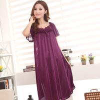 Kedatangan baru! Stylish short sleeved long section of lace nightgown ladies , 7 colors, free home delivery