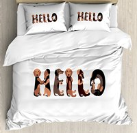 Dachshund Duvet Cover Set Dachshund Puppies Spelling the Word Hello Lovely Animal Font Design Decorative 4 Piece Bedding Set