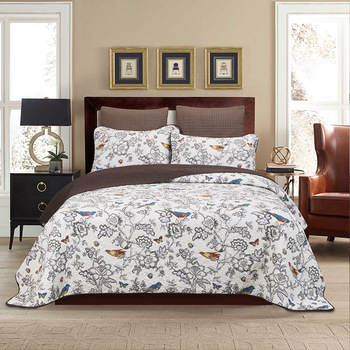 100% Cotton Flower Birds Printed Queen Size Quilted Bedspread Set Home Antique Chic Reversible Bedspread Set Pillow shams