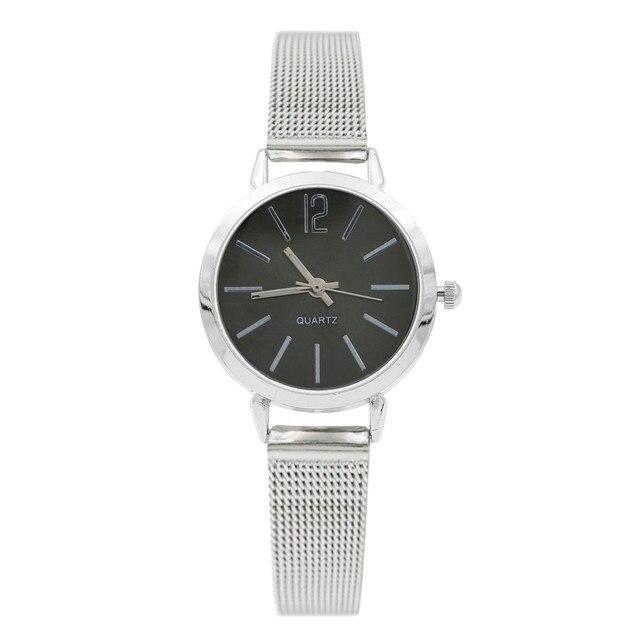 Top Brand Fashion Creative Silver Gold Mesh Band Wrist Watch Casual Women Stainl