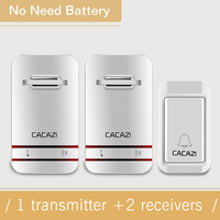 CACAZI Hot Sell No Need Battery Led Light Doorbell Wireless Waterproof 220V Kinetic Electronic Door Bell