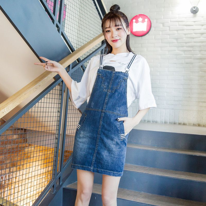 8d9e8bee21970 Detail Feedback Questions about Blue Suspender Denim Skirt 2018 Women s Bib  Overalls Denim Skirts Slim Midi Jeans Skirts Cotton Jeans Skirt With Strap  ...