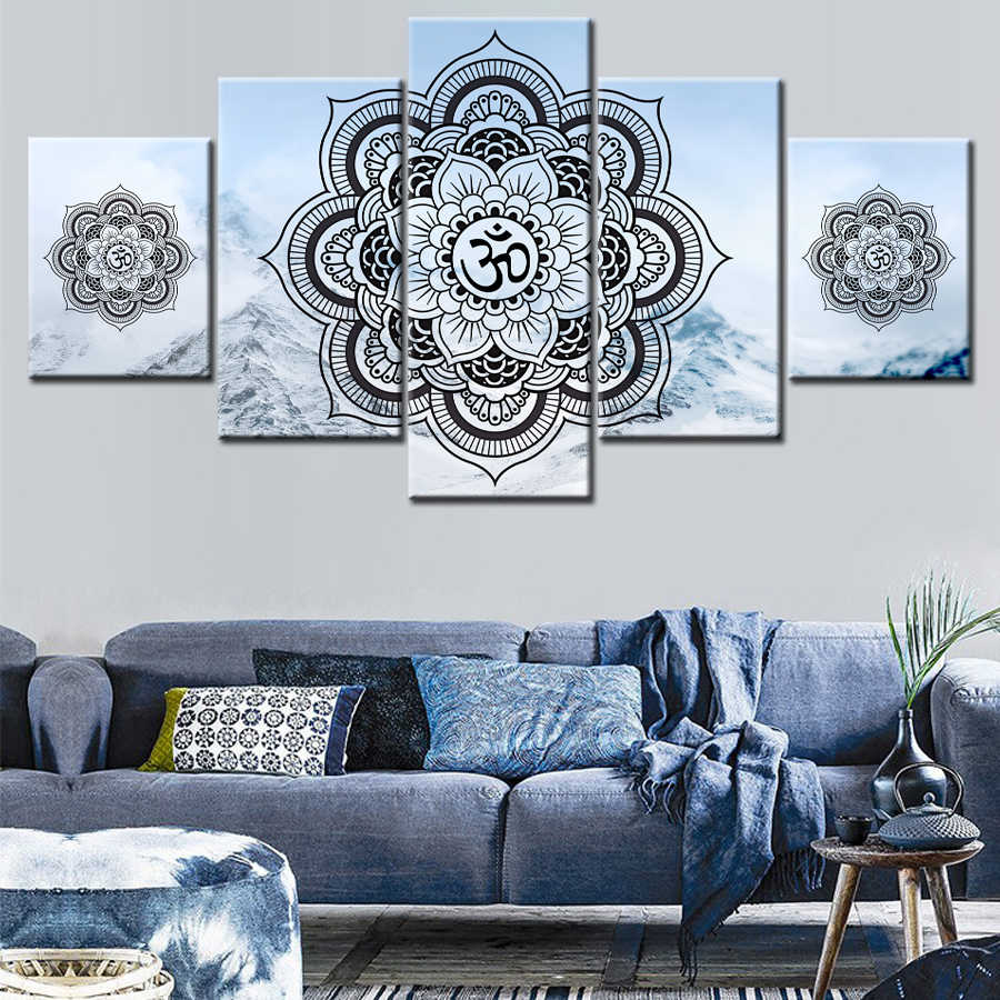 5 Panels Snow Mountain Mandala Canvas Paintings Wall Art Prints Home Decoration Pictures For Living Room