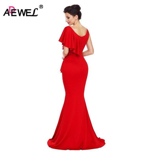 03c24f091 ADEWEL Elegant Irregular Ruffles Waist Diamonds Long Party Dress Mermaid  Women Bodycon Floor-length Formal Dresses