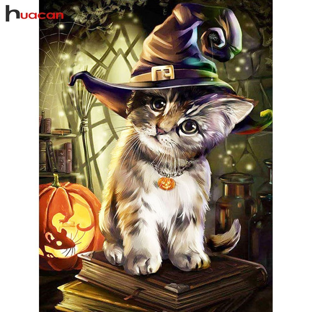 HUACAN Paint With Diamonds Cat DIY Halloween Diamond Painting Full Square Diamond Embroidery Animals Picture Of RhinestoneHUACAN Paint With Diamonds Cat DIY Halloween Diamond Painting Full Square Diamond Embroidery Animals Picture Of Rhinestone