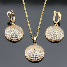 Round White Created AAA Zircon Gold Color Necklace/Pendant/Earrings Jewelry Sets For Women
