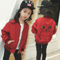 Spring autumn kids Windbreaker baby bomber jackets girls baseball jacket cute cartoon cat zipper children coats casaco infantil