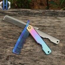 Titanium Comb Head Beard Portable Outdoor Razor Cool Self-defense Tools