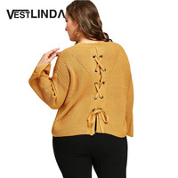 VESTLINDA 2017 Winter Women Tops Sexy Long Sleeve Knitted Jumper Shirts Warm Female Lace Up Back