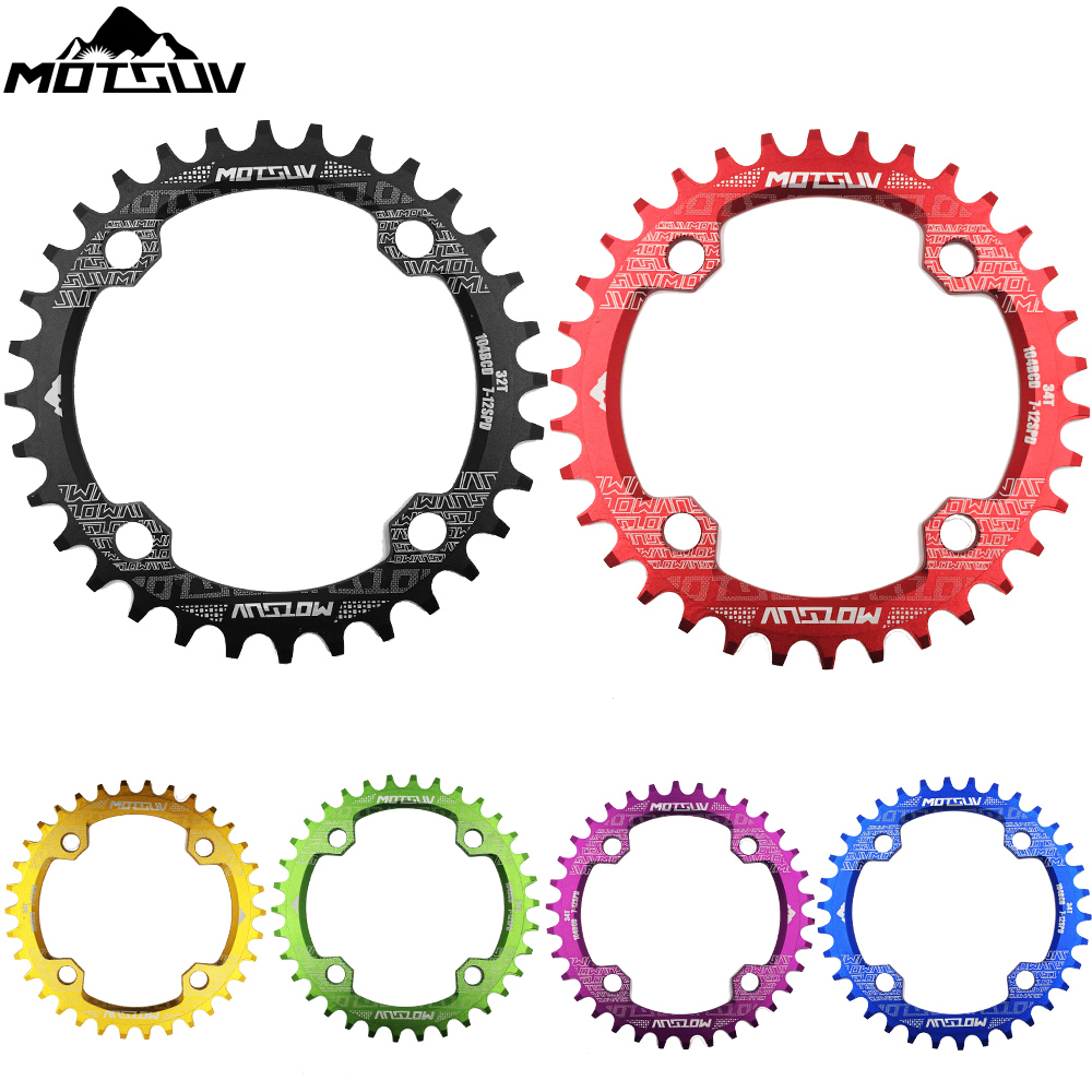 Bicycle Crank 104BCD Round Shape Narrow Wide 32T/34T/36T/38T MTB Chainring Bicycle Chainwheel Bike Circle Crankset Single Plate