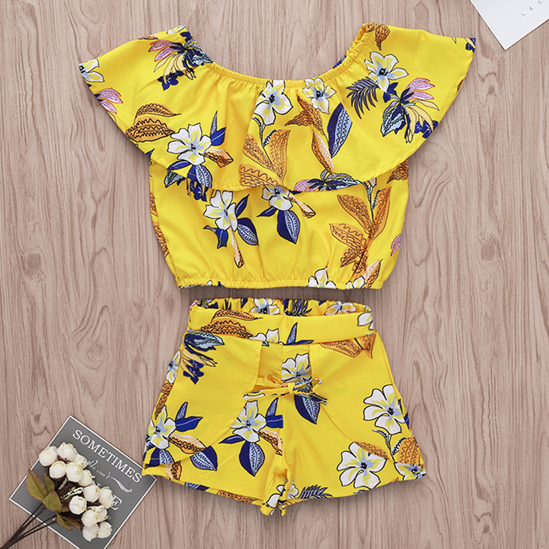 Girls Shorts and Tops 2019 Floral Girls Summer Set Crop Top + Shorts Yellow Two Piece 7 Year Girl Clothing DropshippingGirls Shorts and Tops 2019 Floral Girls Summer Set Crop Top + Shorts Yellow Two Piece 7 Year Girl Clothing Dropshipping