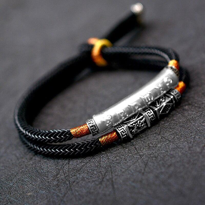 Плетеный браслет ручной работы для мужчин из стерлингового серебра 999 пробы Om Mani Padme Hum с гравировкой изгиб Очаровательная двухслойная цепочка счастливая веревка