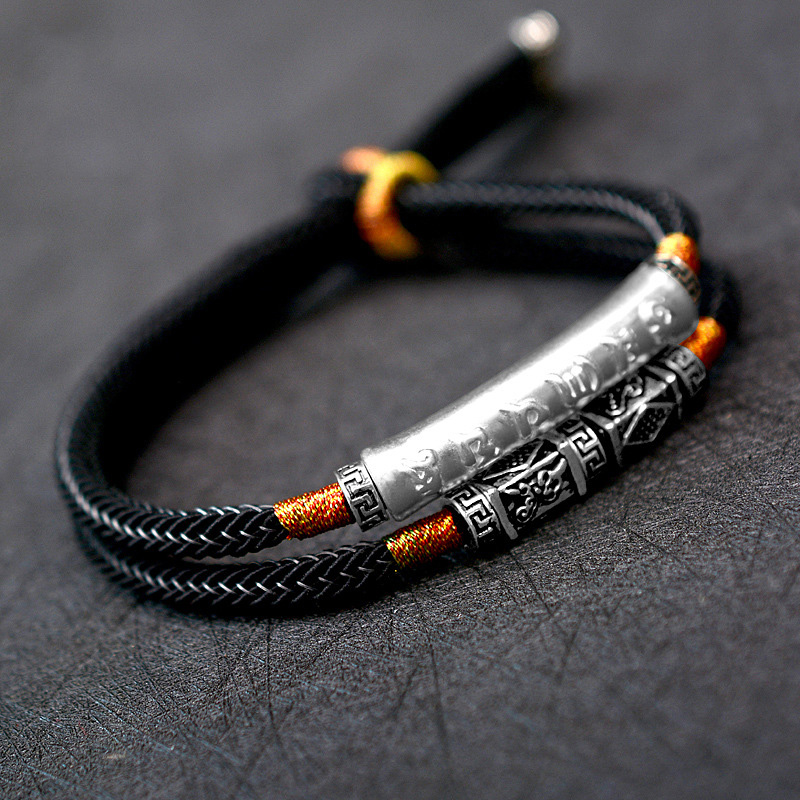 Handmade Braided Bracelet For Men 999 Sterling Silver Om Mani Padme Hum Engraved Bend Charm Double Layers Lucky Rope Chain