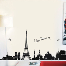 110 cm * 38 cm PVC   Eiffel Tower Wall hangings   Living room bedroom background decoration Wall Stickers TC954