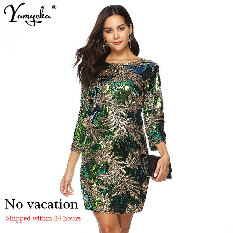2019 Spring Summer New Arrivals Sheath Sexy Sequin dress women Long Sleeve Plus Size Dress Elegant luxury Party Dresses vestidos