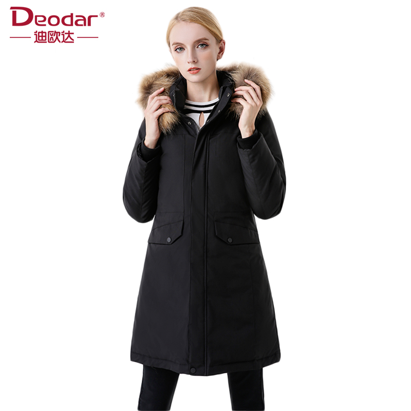 Deodar 2017 Women 90% White Duck Down Coat Solid Large Raccoon Fur Collar Hooded Thick Warm Long Winter Jackets Plus Size DX7188 2017 winter new clothes to overcome the coat of women in the long reed rabbit hair fur fur coat fox raccoon fur collar