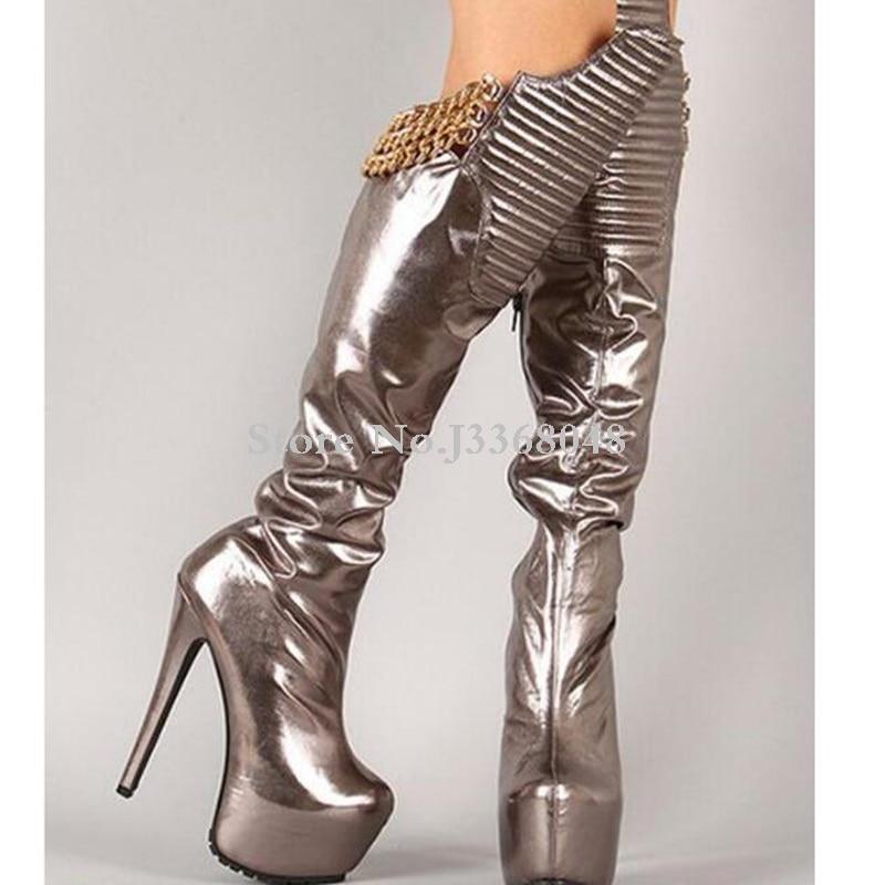 Mode au-dessus du genou bottes bout rond plate-forme mince talon haut 16 CM bottes chaîne en or conçu argent noir femmes bottes longues