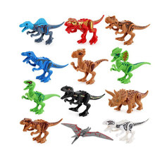 12pcs Big Size Jurassic Dinosaur World T-Rex IndoRaptor Velociraptor Triceratops Figure Toy Building Block Compatible with Legoe(China)