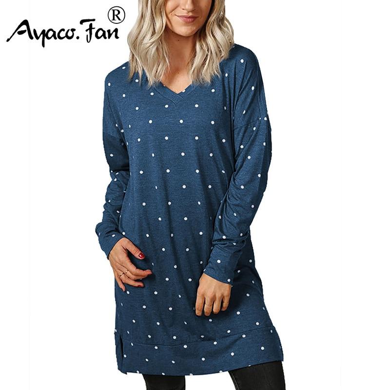 Women T-Shirts 2018 Autumn New Casual Loose V-Neck Dot Long Shirts Tee Tops Full Sleeve Irregular Split Cotton Dress Pullovers