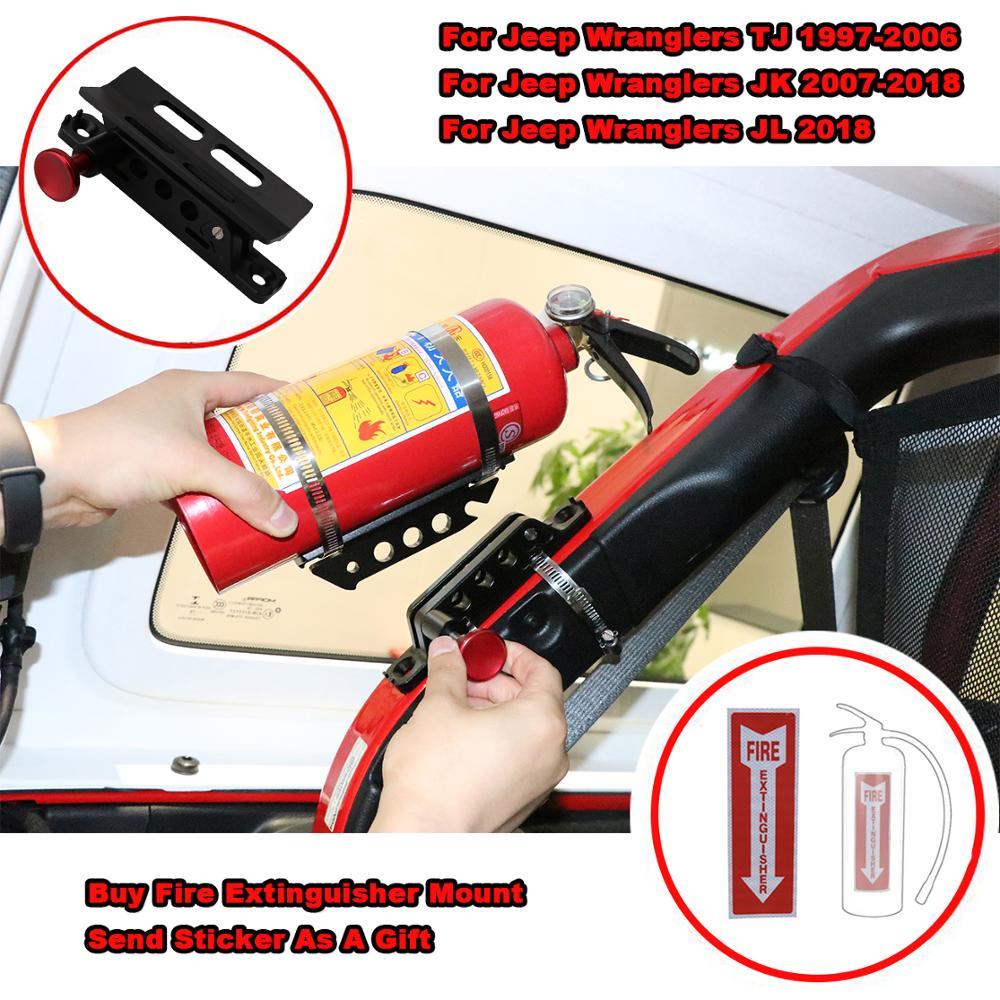 Pour Jeep Wrangler JK TJ CJ Rubicon support de montage d'extincteur à barre réglable avec pinces en aluminium pour Polaris RZR Ranger