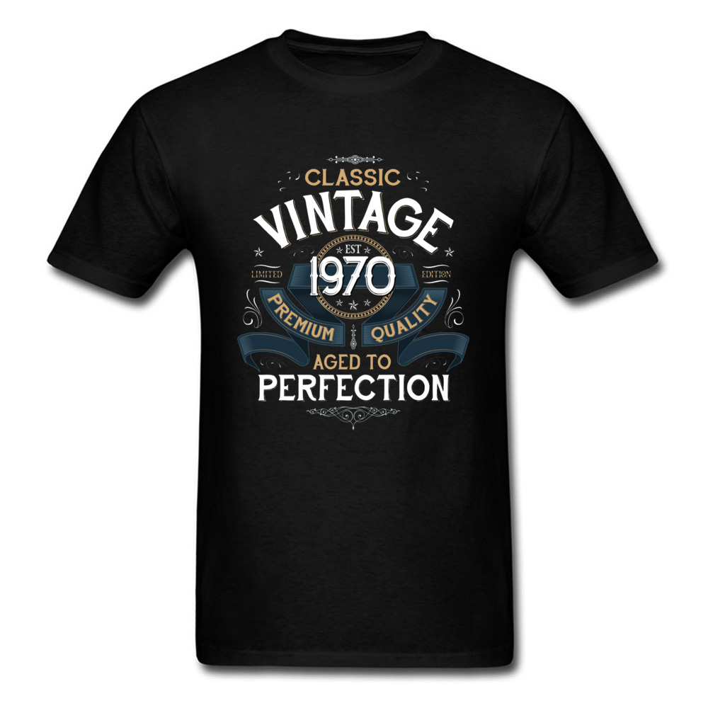 Classic <font><b>Vintage</b></font> Aged to Perfection <font><b>1970</b></font> Image T Shirt Printed 100% Cotton Father Top T-shirts Oversized Casual T Shirt Drop Ship image