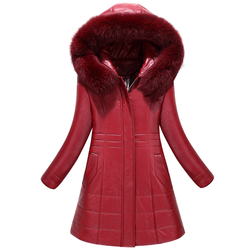 Real Fox Fur Hood Parka 2017 New White Duck Down Winter Jacket Women Long Thick Warm Winter Coat PU Leather down jacket thick