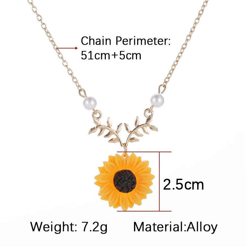 Sunflower จี้สร้อยคอผู้หญิงไข่มุกเทียมสร้อยคอเครื่องประดับเสื้อผ้าอุปกรณ์เสริม