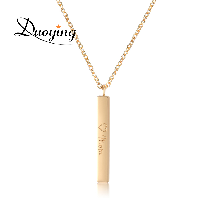 DUOYING Personalized Name Choker Necklace Square Bar Engrave Customize Name Necklaces Pendants Collier Femme Gift For