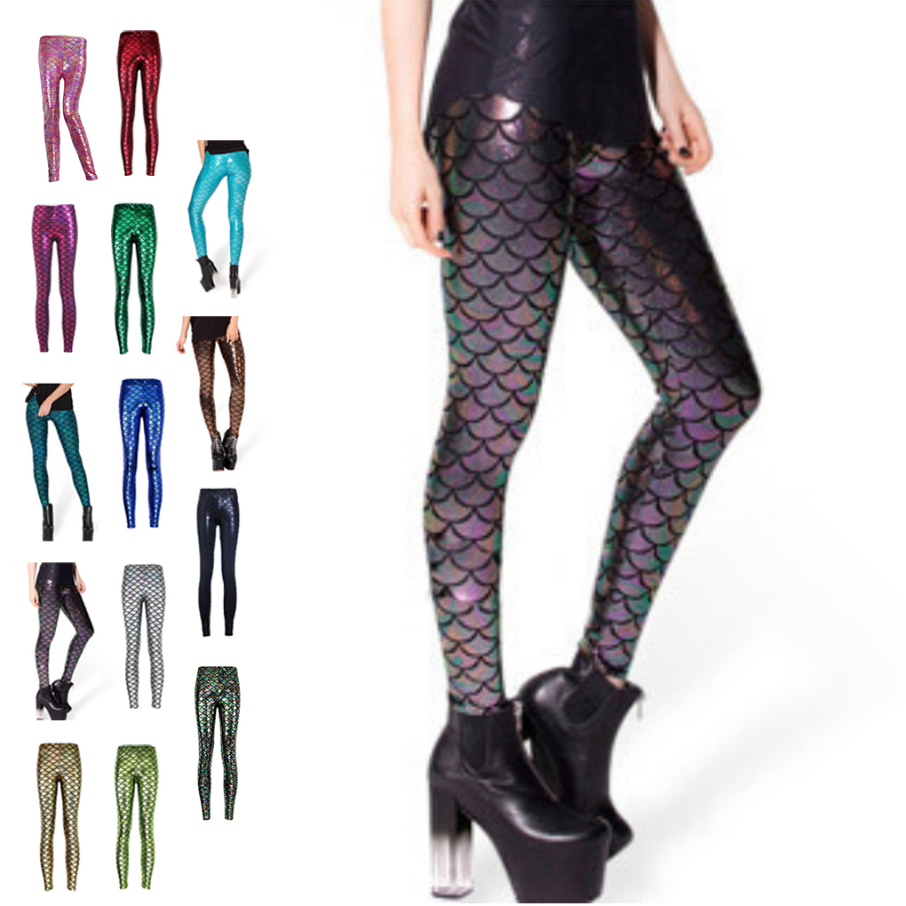 Women Fish scale printing stretch thin shiny mermaid printing Leggings pants