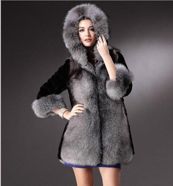 b7e832e6462c4 New Winter Overcoat women natural Luxury Ladis fur coat special Design long Plus  Size Women Hooded Faux fur coat free shipping