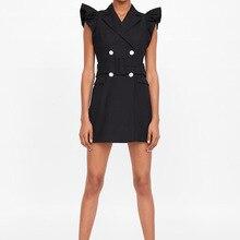 Ruffle Sleeveless Sexy Mini Dress Women Fashion Tailored Collar Blazer Dress Elegant Double Breasted Black Dress vestidos