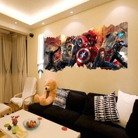 Wholesale 50pcs/Pack The Avengers Scroll Hawkey Thor 3D Wall Sticker Decals Decor