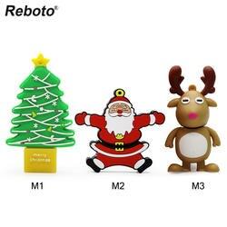 Retobo Usb 2,0 Pendrives 64 ГБ Usb 4 ГБ 8 ГБ 16 ГБ 32 ГБ накопитель Personalizado мультфильм Рождество комбинации Санта лося