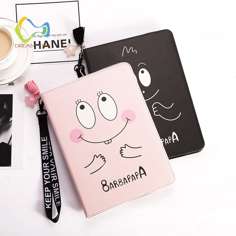 DREAM FISH PU Leather Cover for iPad mini 4 case CCute baby smiley face Flip Lanyard Smart stand Case for ipad tablet gadget