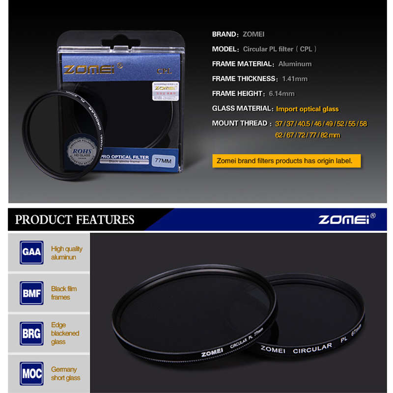 Circular-Polarizing Filter CPL Lens Filter 495255586267727782mm AGC Optical Glass for Nikon Sony Canon Camera Accessories-5