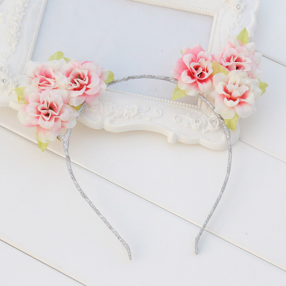 Handmade Cloth Floral Pink Flower Cat Ears Headband For ...