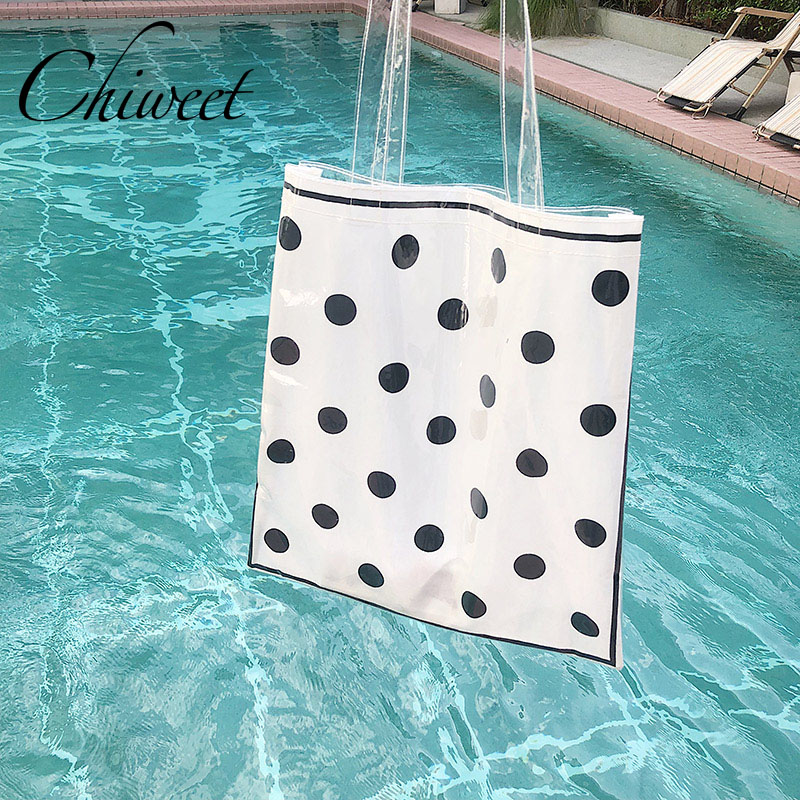 2018 Brand Designer Handbag Wave Point Women Shoulder Bags Clear Transparent Jelly Beach Bag Fashion Dot Large Tote Shopping Bag