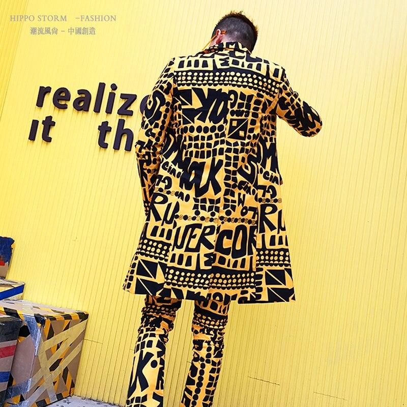 Conjuntos de trajes ajustados informales largos para hombre 2 piezas (chaqueta + pantalón) hombre Slim Fit Blazer traje amarillo chaqueta Club cantante etapa DJ ropa-in chaqueta de deporte from Ropa de hombre    3