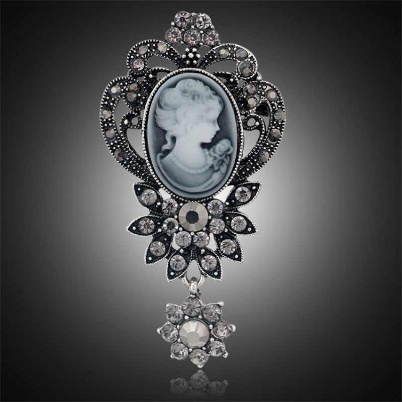 ... Fashion Antique Gold Silver Vintage Brooch Pins Female Brand Jewelry Queen  Cameo Brooches Rhinestone For Women 0c674d930e71