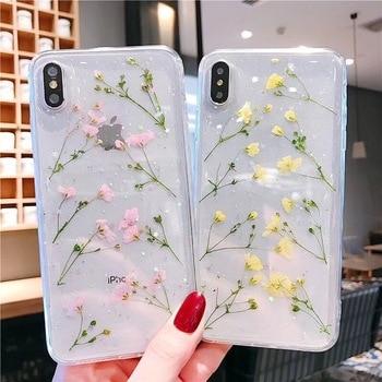 Funda de teléfono transparente de poliuretano termoplástico suave con flores reales para iPhone X XS XR XS Max 6 6S 7 8 Plus, funda trasera con hermosas flores secas