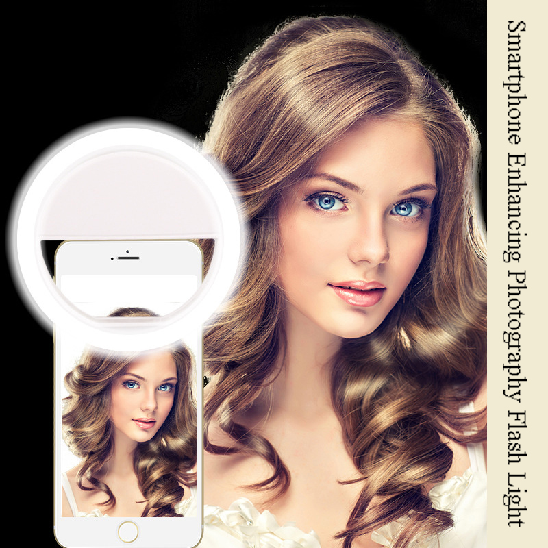 Litwod Z28 del teléfono móvil Selfie Flash de anillo lente belleza llenar de luz lámpara portátil con Clip para cámara de fotos para Teléfono Celular smartphone