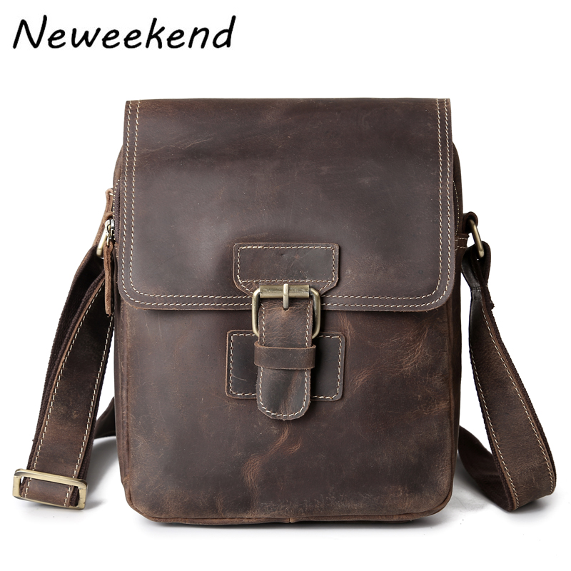NEWEEKEND 3553 Vintage Genuine Leather Crazy Horse Soft Zipper Crossbody Shoulder Messenger iPad Bag for Man neweekend 1005 vintage genuine leather crazy horse large 4 pockets camera crossbody briefcase handbag laptop ipad bag for man